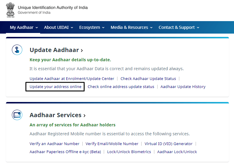 change address in aadhar card