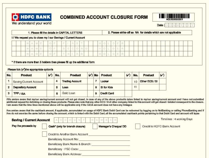 close hdfc bank account